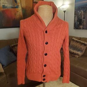 Tommy Hilfiger Cable Knit Orange Sweater Size XS